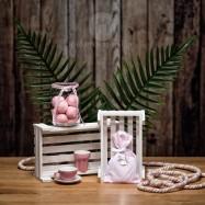 Mπομπονιέρα Βάπτισης Ροζ Βαμβακερό Πουγκί με Μεταλλική Πριγκίπισσα