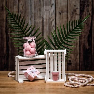 Mπομπονιέρα Βάπτισης Χάρτινο Ροζ Κουτάκι με Μεταλλικό Μπρελόκ Πατουσίτσες