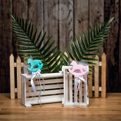 Mπομπονιέρα Βάπτισης Στικ Αλογάκι Carousel Foam