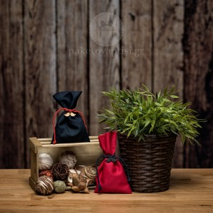Mπομπονιέρα Βάπτισης Βαμβακερό Πουγκί με Ξύλινο Μουστάκι