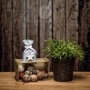 Mπομπονιέρα Βάπτισης Γκρι Βαμβακερό Πουγκί με Ξύλινο Αστέρι