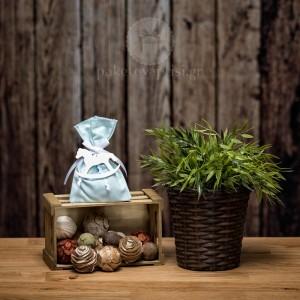 Mπομπονιέρα Βάπτισης Βεραμάν Βαμβακερό Πουγκί με Ξύλινο Αλογάκι Carousel