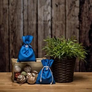 Mπομπονιέρα Βάπτισης Βαμβακερό Μπλε Ραφ Πουγκί με Μεταλλικό Τιμόνι και Καράβι