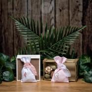 Mπομπονιέρα Βάπτισης Βαμβακερό Πουγκί με Ξύλινο Flamingo