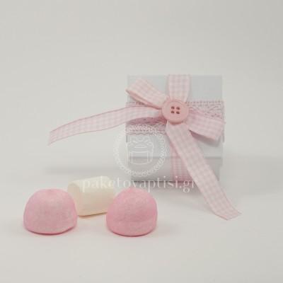 Μπομπονιέρα Βάπτισης Χάρτινο Λευκό Κουτάκι Καρό Φιογκάκι με Ροζ Κουμπάκι