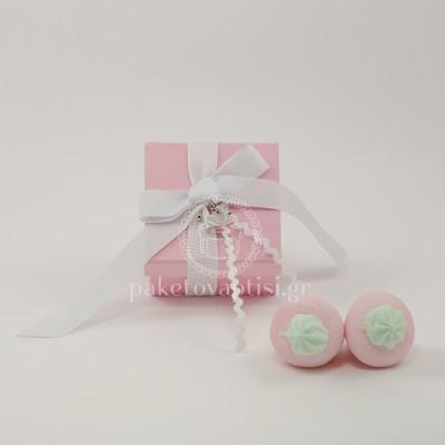 Μπομπονιέρα Βάπτισης Χάρτινο Ροζ Κουτάκι Λευκό Φιογκάκι με Μεταλλική Κορώνα