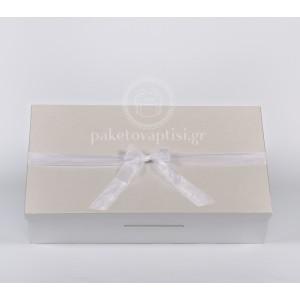 Χάρτινο Λευκό Περλέ Κουτί Παρουσίασης για Μπομπονιέρες
