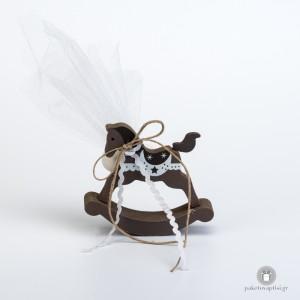 Μπομπονιέρα Βάπτισης Ξύλινο Καφέ Αλογάκι - Carousel