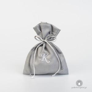 Personalised Μπομπονιέρα Βάπτισης Γκρι Πουγκάκι με Λευκό Μονόγραμμα