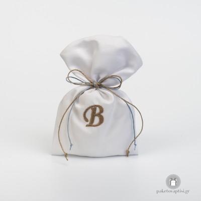 Personalised Μπομπονιέρα Βάπτισης Λευκό Πουγκάκι με Chocolat Ανοιχτό Μονόγραμμα