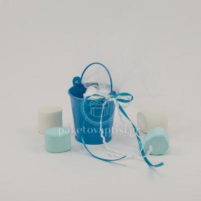 Μπομπονιέρα Βάπτισης Μεταλλικό Μπλε Κουβαδάκι Λευκή Κορδέλα