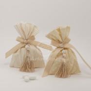 Μπομπονιέρα Βάπτισης Πουγκί Πουά Ριγέ με Διακοσμητική Φούντα