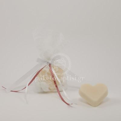 Μπομπονιέρα Βάπτισης Σαπουνάκι Καρδούλα Λευκό Τούλι Δαντέλα