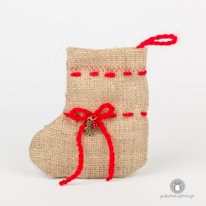 Μπομπονιέρα Βάπτισης Χριστουγεννιάτικη Μπότα από Τσουβάλι