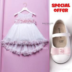 Σετ Ρούχο Dolce Bambini + Παπούτσια Βάπτισης Babywalker για Κορίτσι 015
