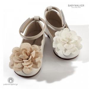 Δερμάτινα Παπουτσάκια με Jersey Λουλούδι για Κορίτσια Babywalker BW4569