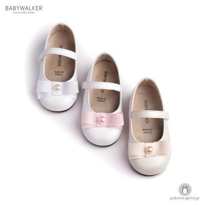 Παπουτσάκια με Φιογκάκι από Ταφτά και Πέρλα Babywalker BS3500
