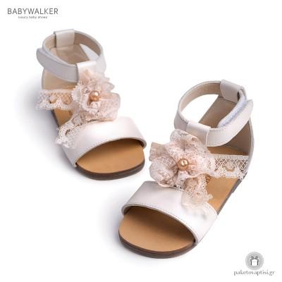 Δερμάτινα Πεδιλάκια για Κορίτσια με Δαντελένιο Φιόγκο Babywalker BW4522