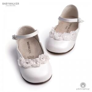 Γαλλικά Γοβάκια με Chiffon Λουλούδια Babywalker BW4526