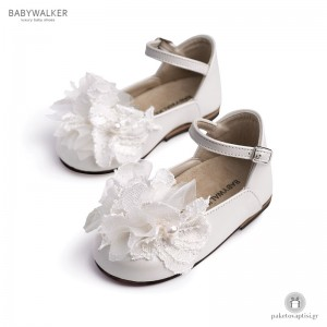 Γαλλικά Γοβάκια για Κορίτσια με Chiffon Λουλούδια και Πέρλες Babywalker BW4593
