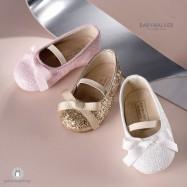 Glitter Γοβάκια με Gros-Grain Φιογκάκι για Κορίτσια Babywalker EXC5581