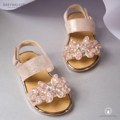 Δερμάτινα Πέδιλα με Κρυστάλλινα Λουλούδια για Κορίτσια Babywalker EXC5631
