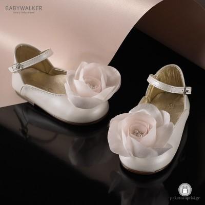 Γαλλικά Γοβάκια με Σατέν Λουλούδι για Κορίτσια Babywalker EXC5643