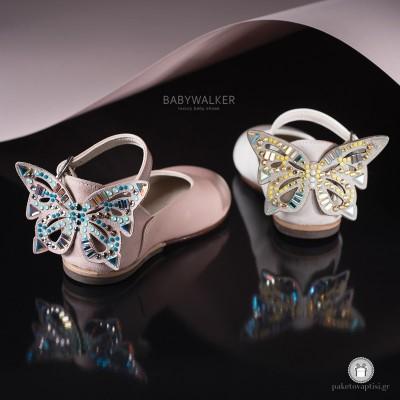 Γαλλικά Γοβάκια με Πεταλούδα από Strass Swarovski Babywalker LU6041