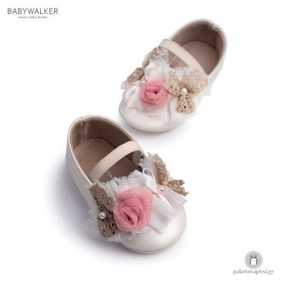 Παπουτσάκια Aγκαλιάς με Υφασμάτινα Λουλουδάκια Babywalker MI1514