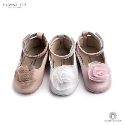 Παπουτσάκια Aγκαλιάς Μπαλαρινέ με Chiffon Λουλούδι Babywalker MI1556
