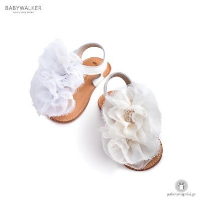 Πέδιλα Aγκαλιάς με Chiffon Λουλούδια Babywalker MI1559