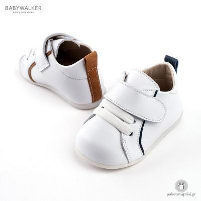 Δερμάτινα Sneakers για τα πρώτα Βήματα με Μπαρέτα Velcro Babywalker PRI2045
