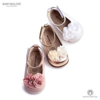 Γοβάκια για τα Πρώτα Βήματα με Μπαρέτα και Υφασμάτινο Λουλούδι Babywalker PRI2538