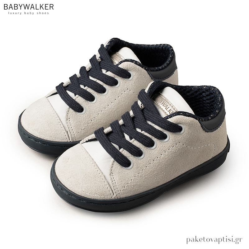 c56577aac99 Δετά Λευκά με Μπλε Sneakers Babywalker BW4111