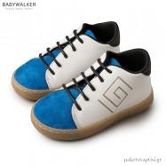 Δερμάτινα Λευκά με Μπλε Ηλεκτρίκ Brogues Μαίανδρος Babywalker BW4135