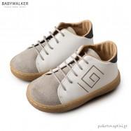 Δερμάτινα Λευκά με Γκρι Brogues Μαίανδρος Babywalker BW4135