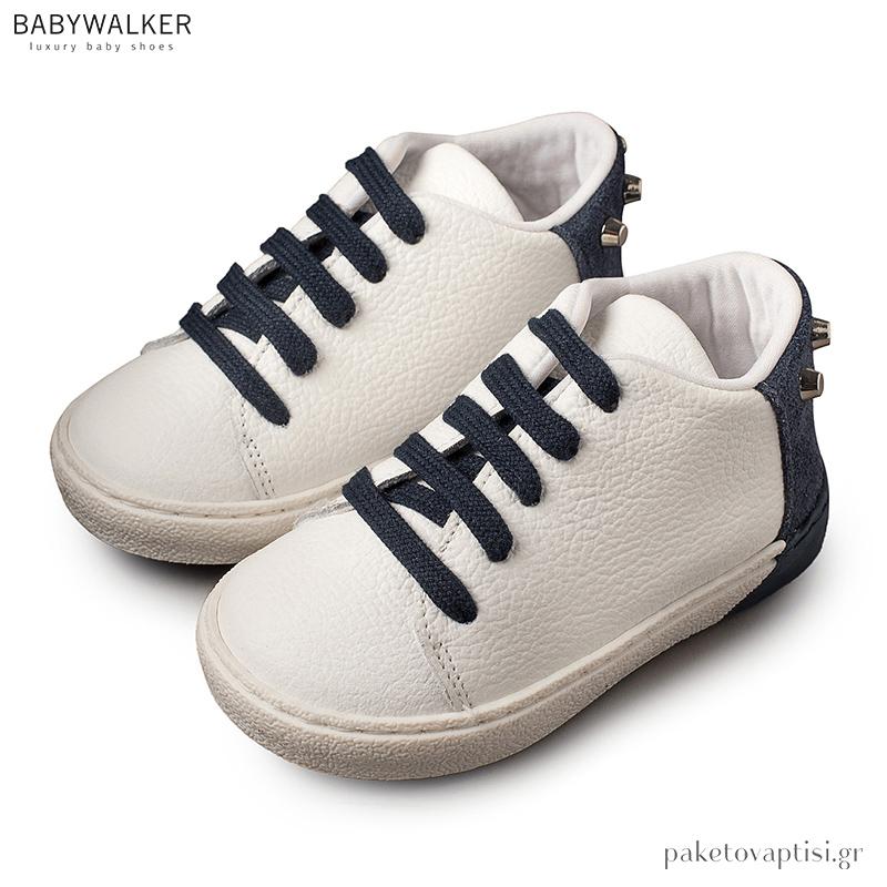 7c2b211ede7 Δετά Λευκά με Μπλε Sneakers Babywalker BW4141