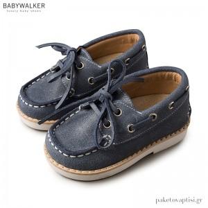 Δερμάτινα Μπλε Δετά Παπούτσια Βάρκας Babywalker BW4143