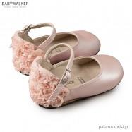 Γαλλικά Ροζ Γοβάκια με Chiffon Λουλούδια Babywalker BW4503