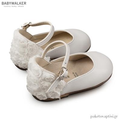 Γαλλικά Λευκά Γοβάκια με Chiffon Λουλούδια Babywalker BW4503