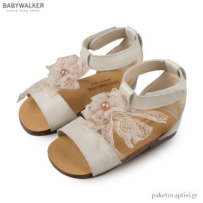 Δερμάτινα Εκρού Πέδιλα με Δαντελένιο Φιόγκο Babywalker BW4522