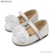 Γοβάκια Λευκά με Τούλινες Μπάλες και Πεταλούδες Babywalker BW4637