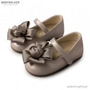 Γοβάκια Γκρι με Υφασμάτινο Λουλούδι Babywalker BW4650