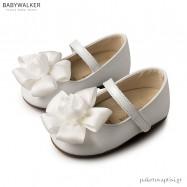 Γοβάκια Λευκά με Υφασμάτινο Λουλούδι Babywalker BW4650