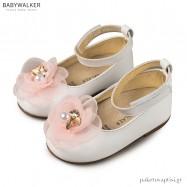 Γοβάκια Λευκά με Ροζ με Chiffon Λουλούδι Babywalker BW4662