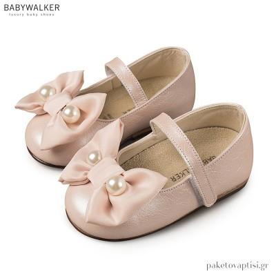 Γοβάκια Ροζ με Chiffon Φιόγκο και Πέρλες Babywalker BW4663