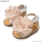 Πεδιλάκια Εκρού με Μπεζ με Μεγάλο Λουλούδι Babywalker BW4666