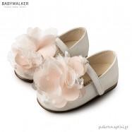 Γοβάκια Εκρού Μπεζ με Λουλούδι από Ταφτά και Δαντέλα Babywalker BW4667