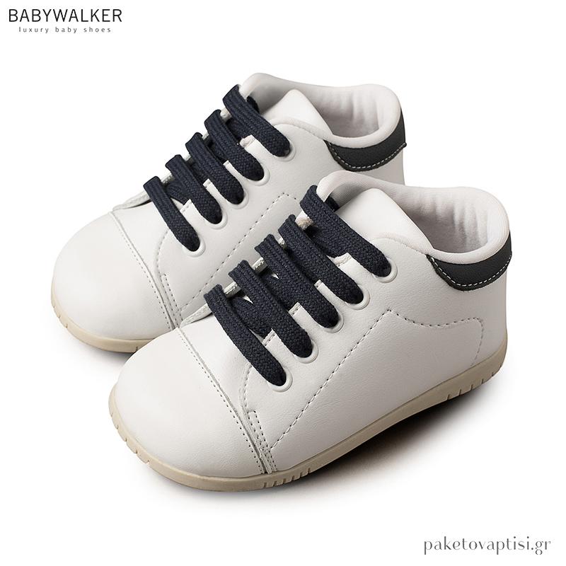 91ef0313aa8 Δετά Λευκά με Μπλε Sneakers Babywalker BS3025