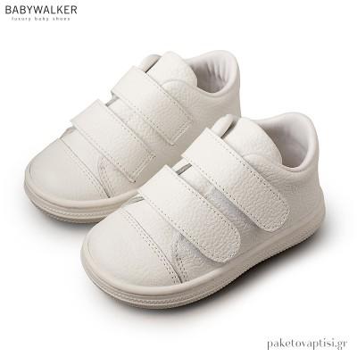 Δερμάτινα Λευκά Sneakers με Διπλό Velcro Babywalker BS3028